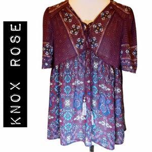 Knox Rose Bohemian Purple Babydoll Top